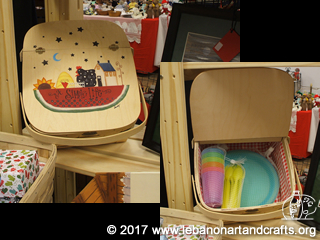 Sandra Dickau painted this picnic basket, which comes with cups, spoons, and plates