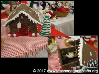 Kay Mariotti crocheted the entire gingerbread house with a detachable roof to reveal the gingerbread men inside