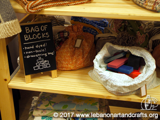 These bag of blocks were hand-dyed by Chelsea McDowell