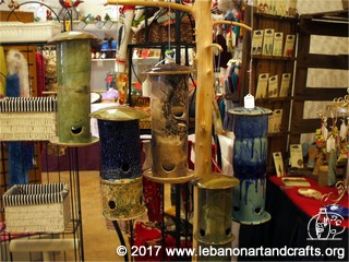 Heather Burgess made these ceramic bird feeders