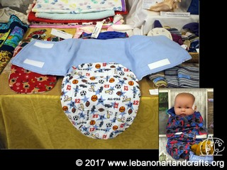 This baby swaddler was sewn by Helen Miller-Shapiro