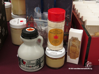 Susan Cutting produces the maple syrup, maple sugar, maple cream, and maple candy shown here.